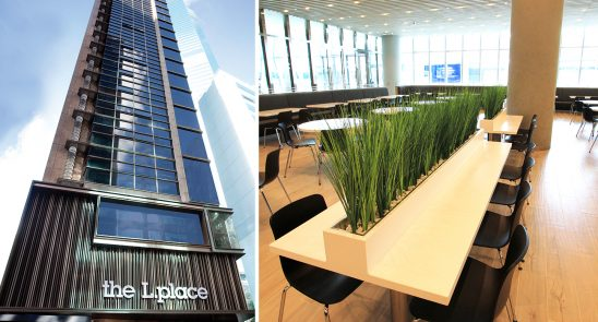 outside view of the Lplace building in Hong Kong - inside view of a well designed office
